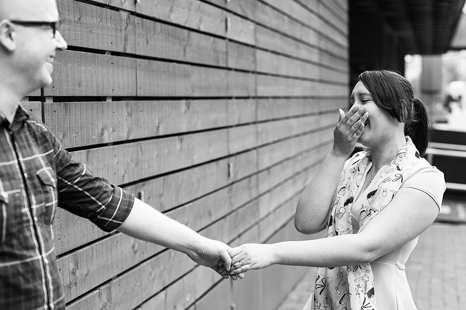 Black and white couple engagement shoot London Fiona Kelly wedding photographer