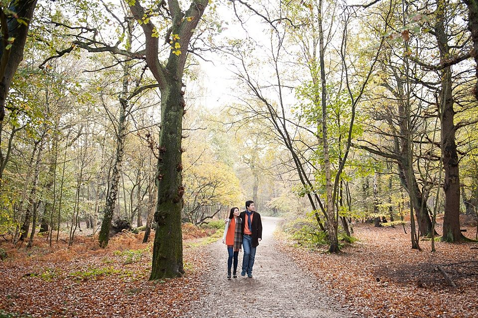 Couple love shoot - Autumn engagement shoot - Epping Forest in London, Essex in England © Fiona Kelly wedding photographer