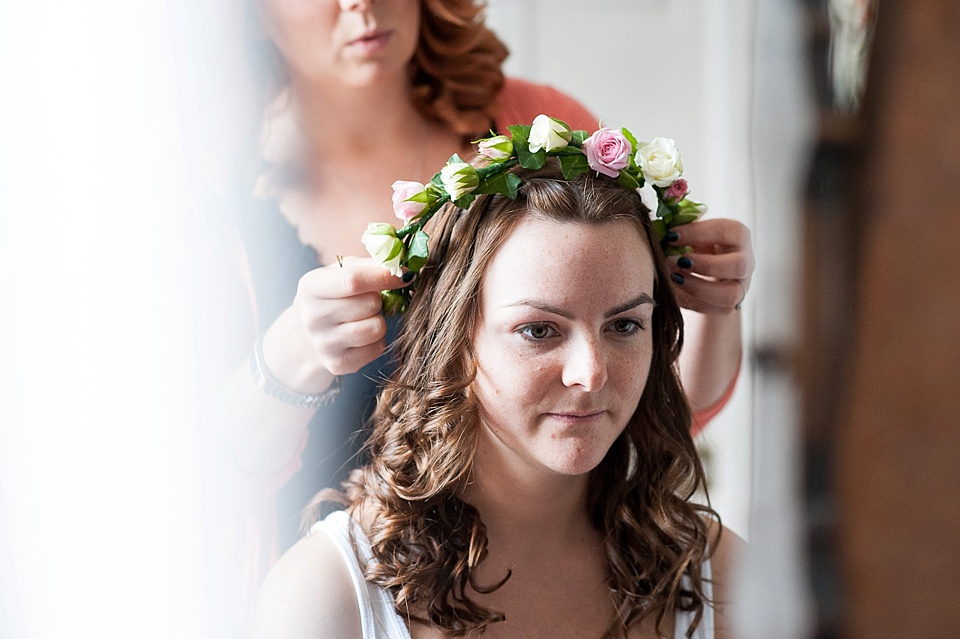 Bridal flower crown for wedding at Spread Eagle hotel - wedding accommodation for english country garden wedding Sussex wedding photographer © Fiona Kelly photography