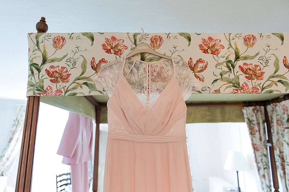 dusky pink Kaliko bridesmaid dress - English country garden wedding at the Walled Garden at Cowdray - Sussex wedding photographer © Fiona Kelly photography