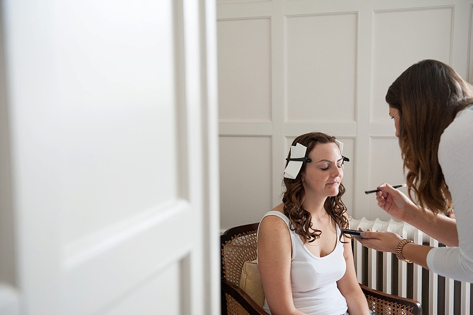 Kat Priest doing natural makeup for bride - English country garden wedding at the Walled Garden at Cowdray - Sussex wedding photographer © Fiona Kelly photography