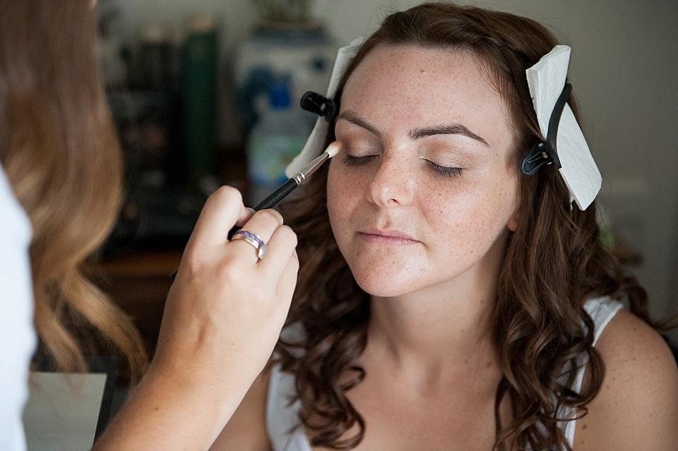 natural makeup for the bride - English country garden wedding at the Walled Garden at Cowdray - Sussex wedding photographer © Fiona Kelly photography