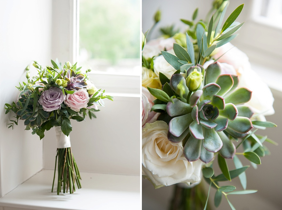 Dusky pink bouquets with succulents by Blooms - English country garden wedding at the Walled Garden at Cowdray - Sussex wedding photographer © Fiona Kelly photography