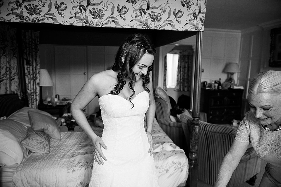 Bride with mother at the Spreaded Eagle Hotel - English country garden wedding at the Walled Garden at Cowdray - Sussex wedding photographer © Fiona Kelly photography