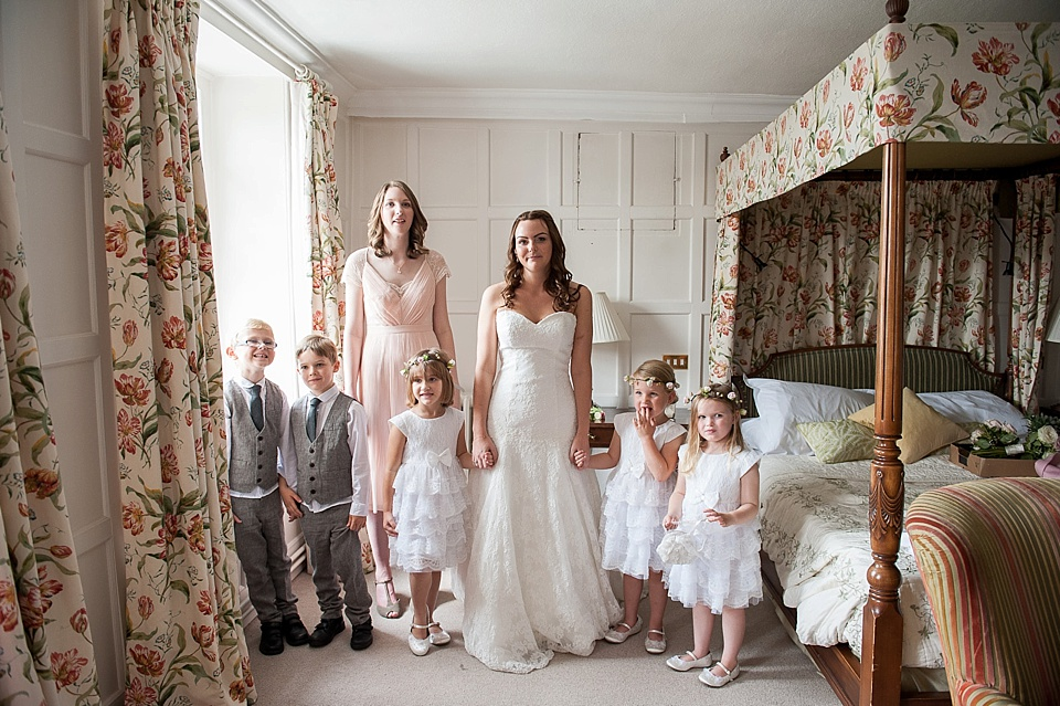 Bride in Lillian West, bridesmaid in Kaliko, flowergirls and pageboys at the Spreaded Eagle Hotel - English country garden wedding at the Walled Garden at Cowdray - Sussex wedding photographer © Fiona Kelly photography