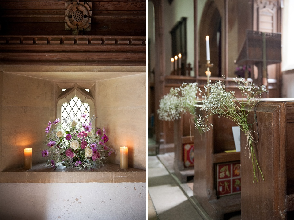 Gysophilia and flowers by Blooms - English country garden wedding All Hallows Church Woolbeding Sussex wedding photographer © Fiona Kelly photography
