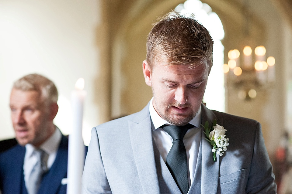 Best Man in green tie and grey suit - English country garden wedding All Hallows Church Woolbeding Sussex - natural wedding photographer © Fiona Kelly photography
