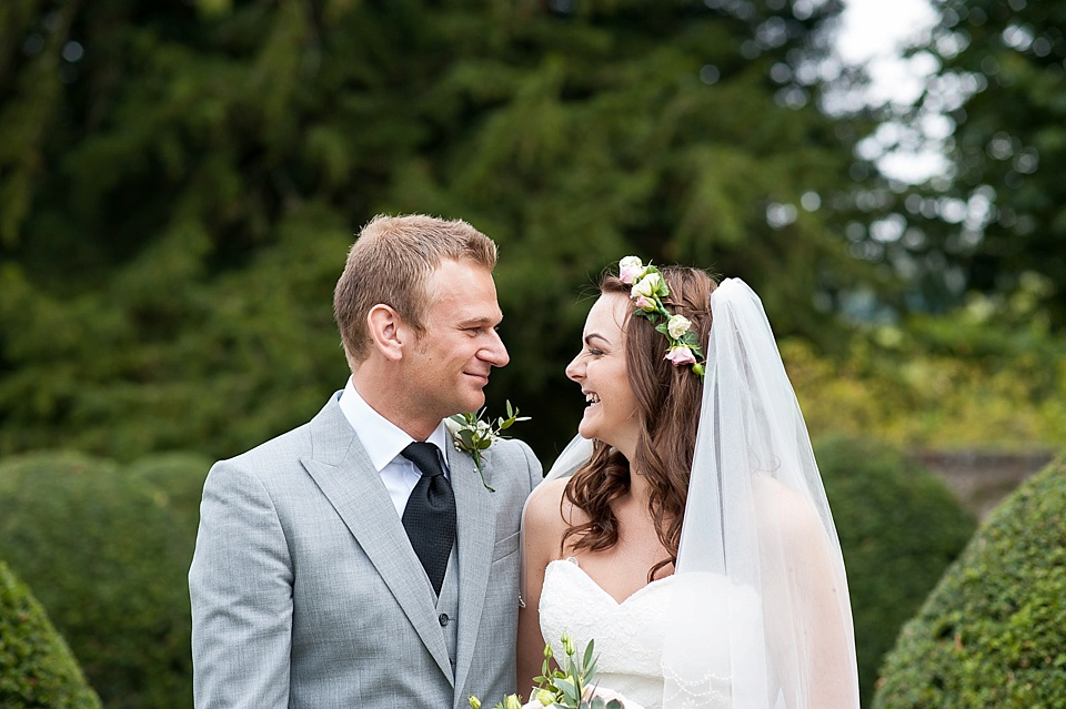 Sweet wedding portrait at English country garden wedding All Hallows Church Woolbeding Sussex - natural wedding photographer © Fiona Kelly photography