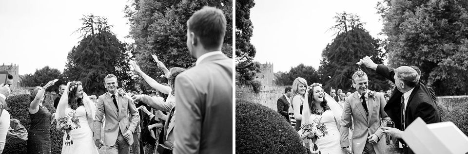 black and white confetti time English country garden wedding All Hallows Church Woolbeding Sussex - natural wedding photographer © Fiona Kelly photography