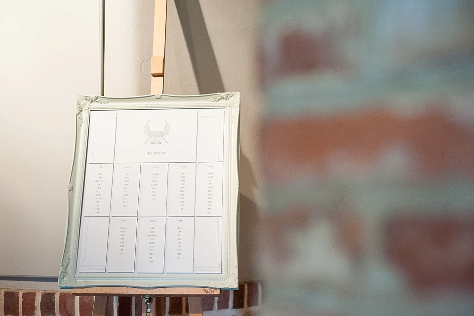 Silver framed seating plan at an English country garden wedding at the Walled Garden at Cowdray Sussex - natural wedding photographer © Fiona Kelly photography