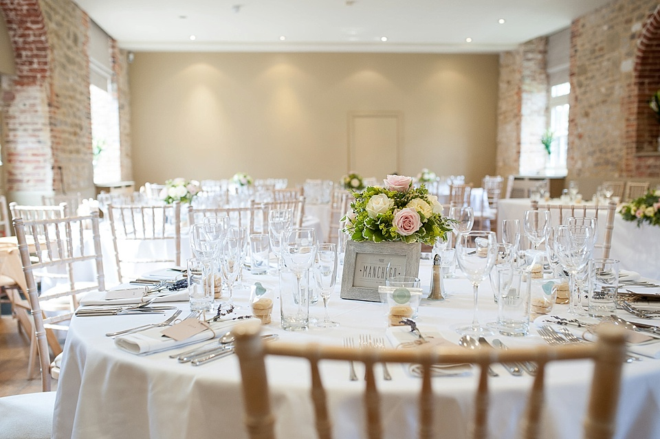 Table all set for an English country garden wedding at the Walled Garden at Cowdray Sussex - natural wedding photographer © Fiona Kelly photography