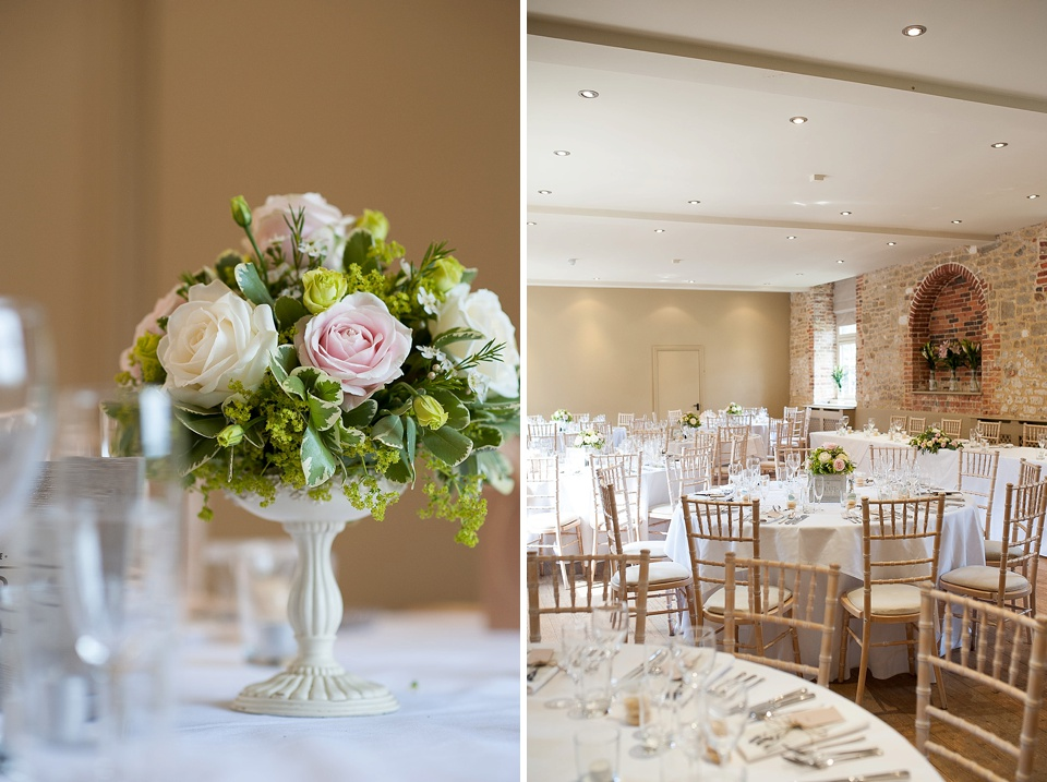Beautiful Roses by Blooms Florist on the table at an English country garden wedding at the Walled Garden at Cowdray Sussex - natural wedding photographer © Fiona Kelly photography