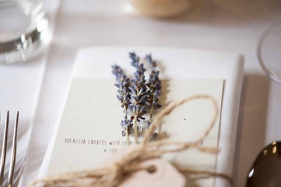 Dried Lavender with menu on the table at an English country garden wedding at the Walled Garden at Cowdray Sussex - natural wedding photographer © Fiona Kelly photography