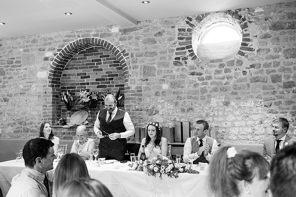 Father of the bride delivering the speech at an English country garden wedding at the Walled Garden at Cowdray Sussex - natural wedding photographer © Fiona Kelly photography