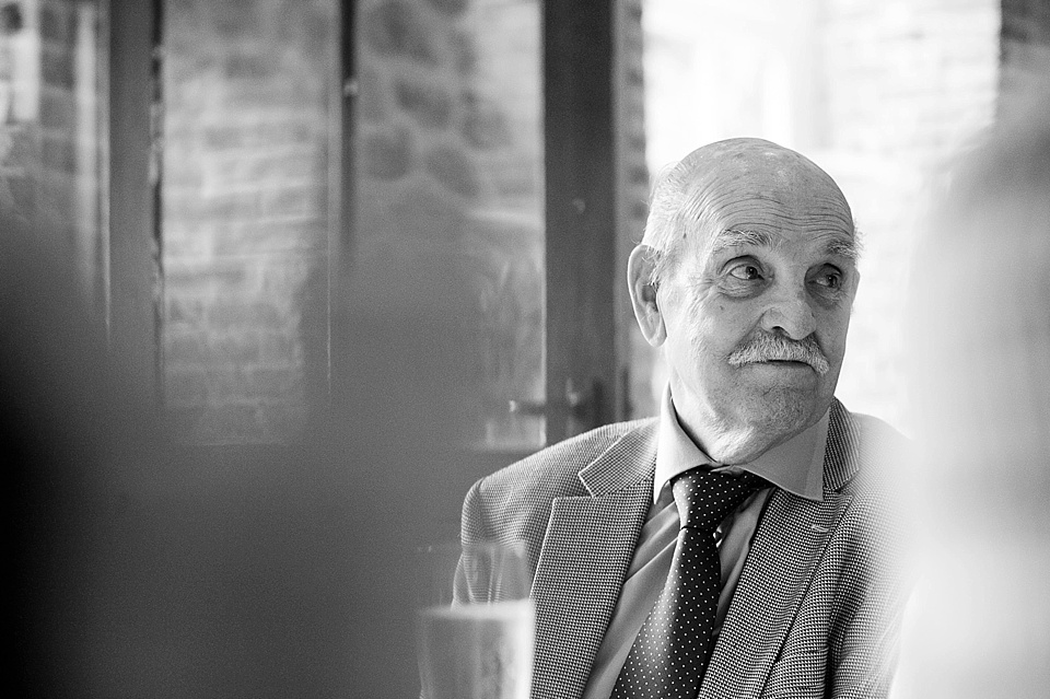Grandfather at English country garden wedding at the Walled Garden at Cowdray Sussex - natural wedding photographer © Fiona Kelly photography
