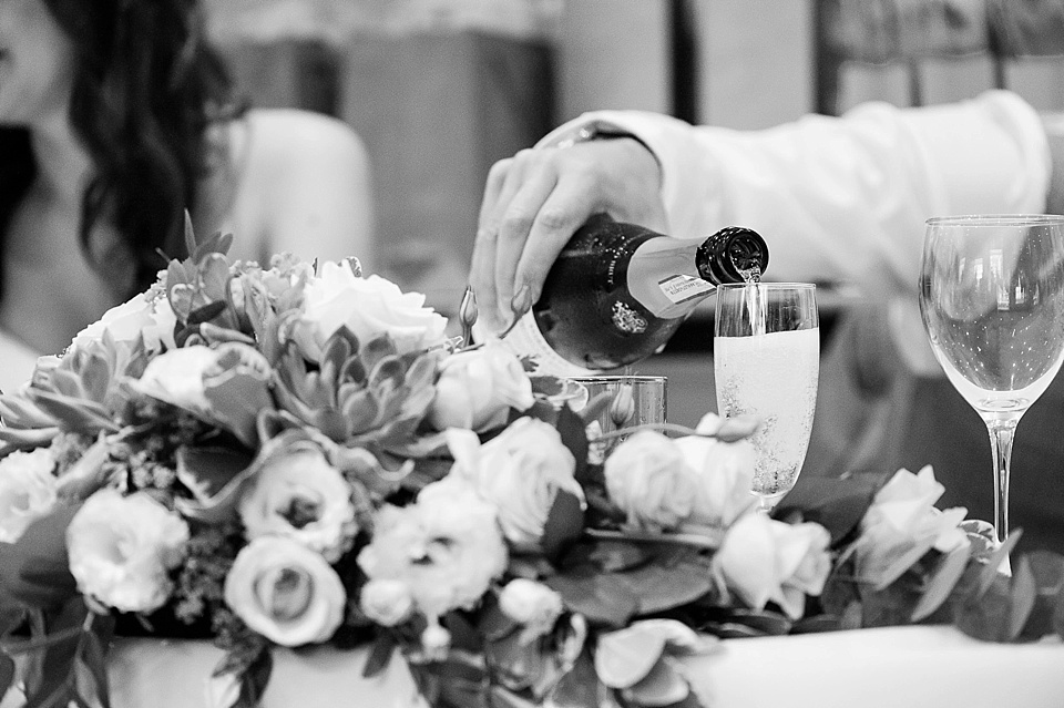 Champagne toast at English country garden wedding at the Walled Garden at Cowdray Sussex - natural wedding photographer © Fiona Kelly photography
