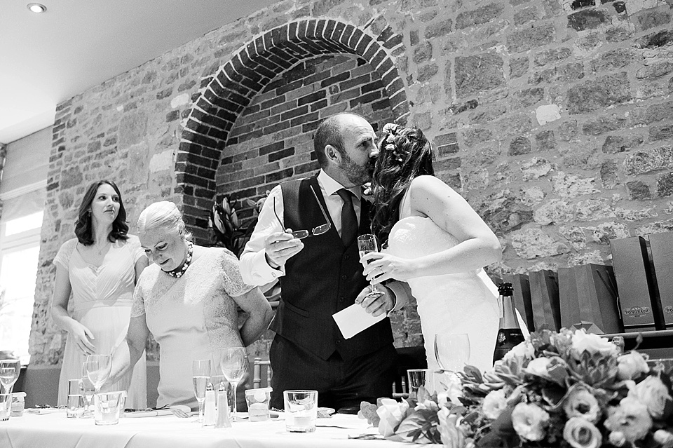 Standing for champagne toast at English country garden wedding at the Walled Garden at Cowdray Sussex - natural wedding photographer © Fiona Kelly photography