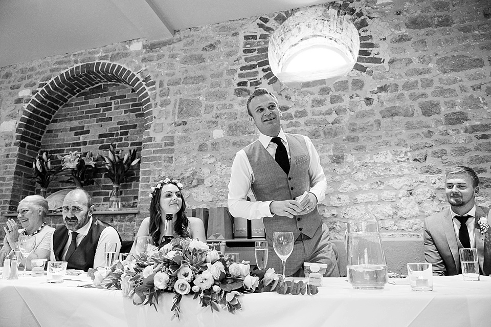 Groom's speech at English country garden wedding at the Walled Garden at Cowdray Sussex - natural wedding photographer © Fiona Kelly photography