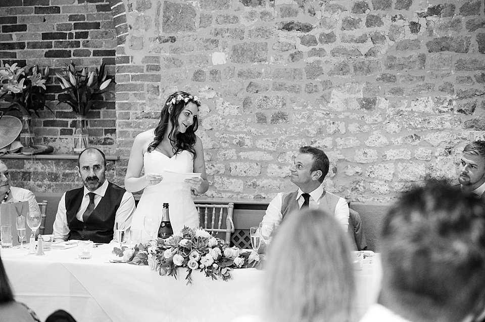 Bride's speech - English country garden wedding at the Walled Garden at Cowdray Sussex - natural wedding photographer © Fiona Kelly photography