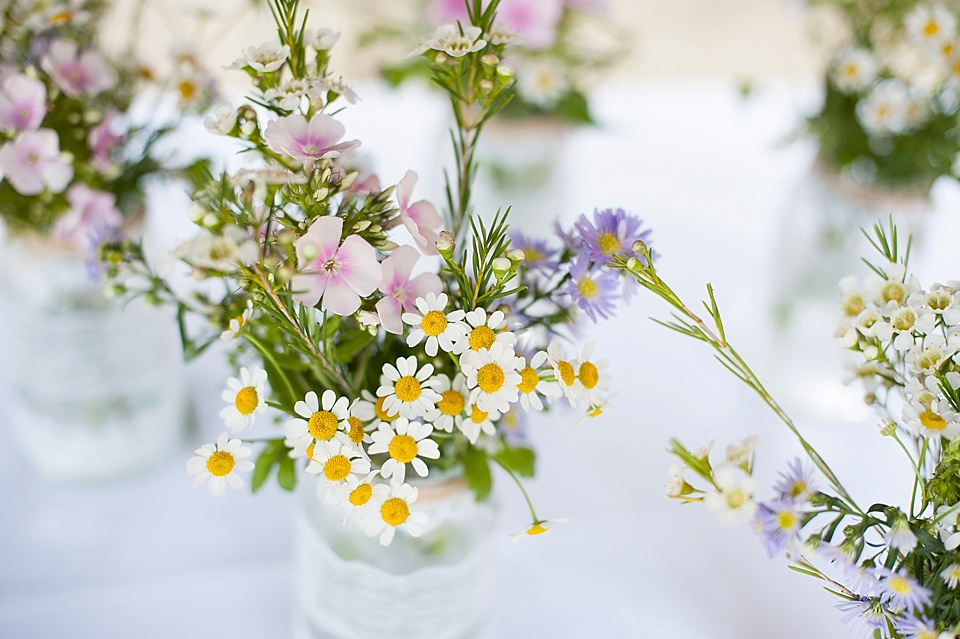 Daisies in mason jars - English country garden wedding at the Walled Garden at Cowdray Sussex - natural wedding photographer © Fiona Kelly photography