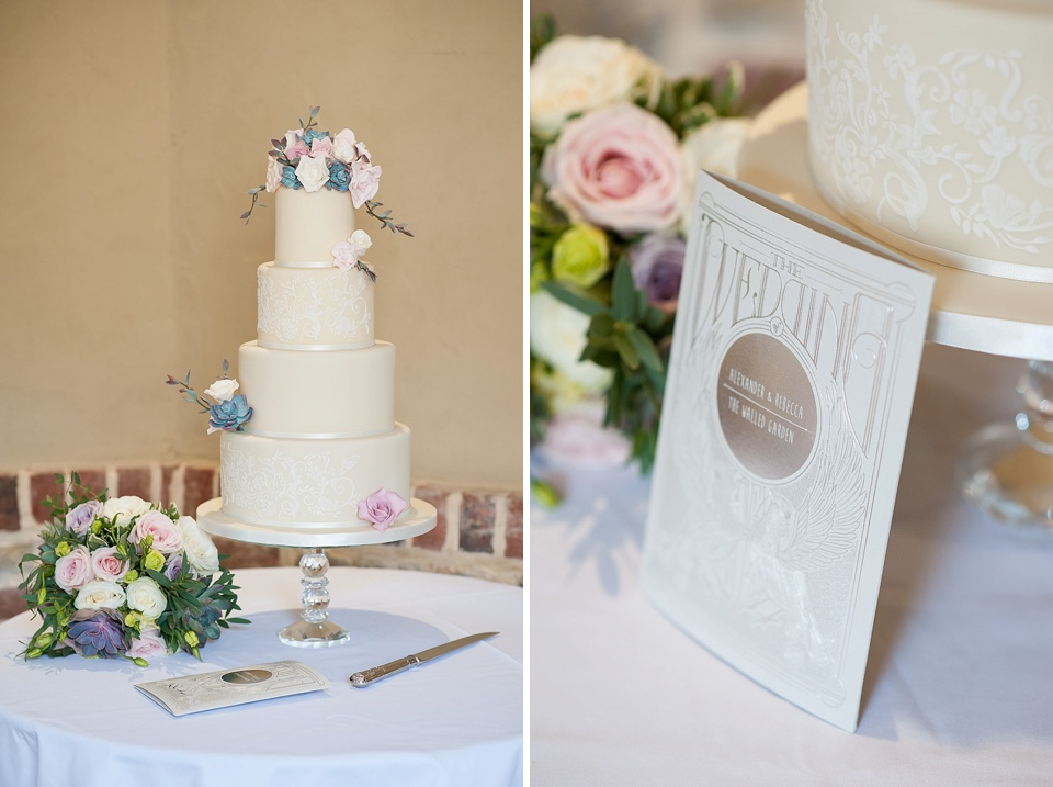 Soft pink flowers on wedding cake by Mrs Robinson's Cakes English country garden wedding at the Walled Garden at Cowdray Sussex - natural wedding photographer © Fiona Kelly photography