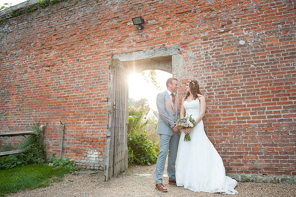 Golden hour wedding portrait at English country garden wedding at the Walled Garden at Cowdray Sussex - natural wedding photographer © Fiona Kelly photography