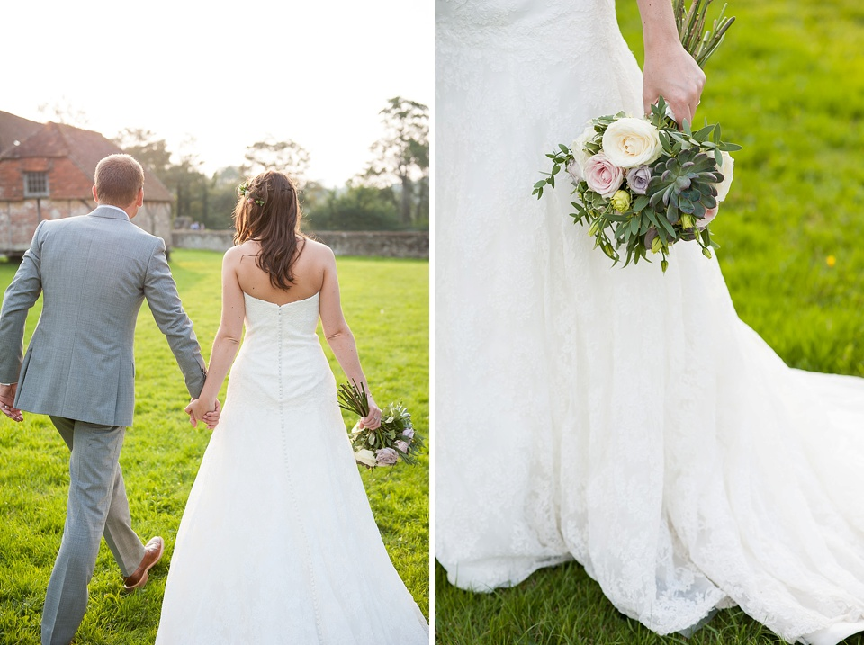 Sweet wedding portrait - flowers by Blooms florist - English country garden wedding at the Walled Garden at Cowdray Sussex - natural wedding photographer © Fiona Kelly photography