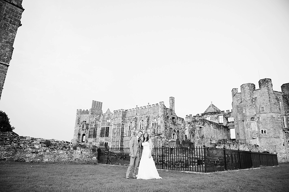 Dramatic wedding venues - wedding portrait in front of English country garden wedding at the Walled Garden at Cowdray - Sussex wedding photographer © Fiona Kelly photography