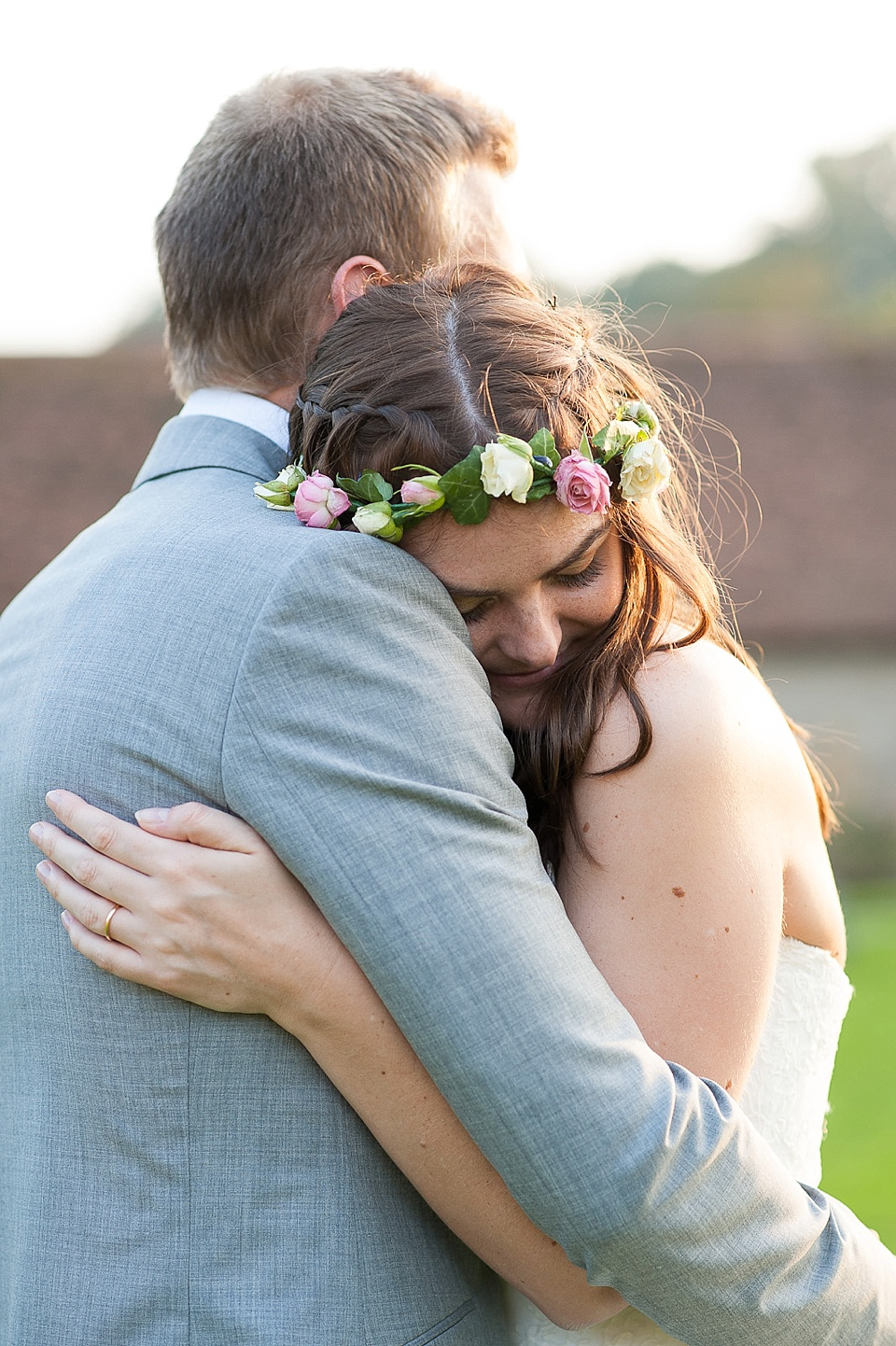 Close up wedding portrait at golden hour - English country garden wedding at the Walled Garden at Cowdray - Sussex wedding photographer © Fiona Kelly photography