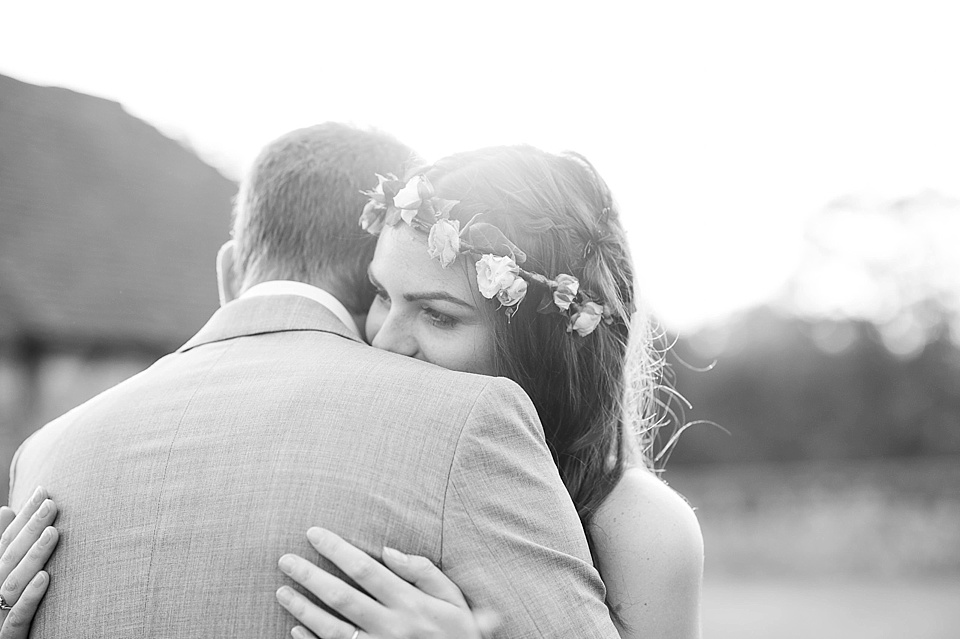 Sweet intimate black and white wedding portrait - English country garden wedding at the Walled Garden at Cowdray - Sussex wedding photographer © Fiona Kelly photography