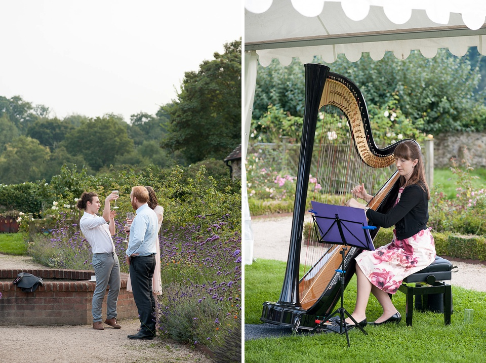 Harpist playing at English country garden wedding at the Walled Garden at Cowdray - Sussex wedding photographer © Fiona Kelly photography