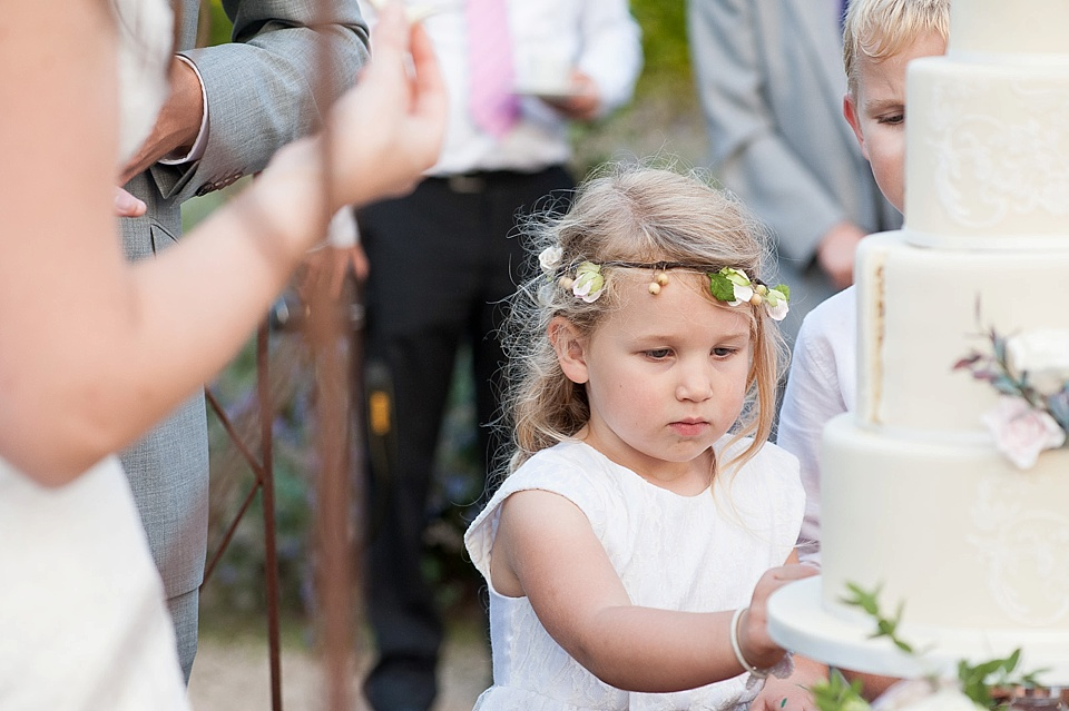 Cute flowergirl at English country garden wedding at the Walled Garden at Cowdray - Sussex wedding photographer © Fiona Kelly photography