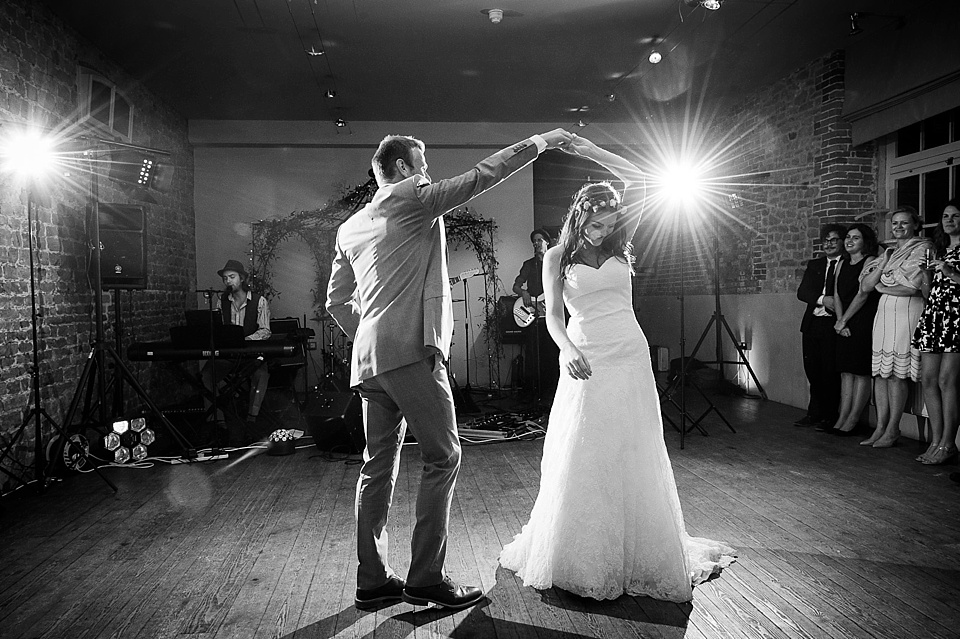 Lights sparkle on first dance English country garden wedding at the Walled Garden at Cowdray Sussex - natural wedding photographer © Fiona Kelly photography