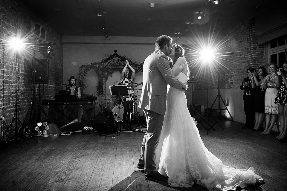 First dance English country garden wedding at the Walled Garden at Cowdray Sussex - natural wedding photographer © Fiona Kelly photography