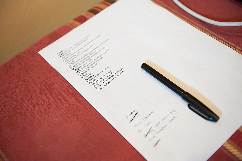 wedding task to do list, for a thames rowing club wedding, a handmade wedding, scottish wedding photographer © Fiona Kelly Photography