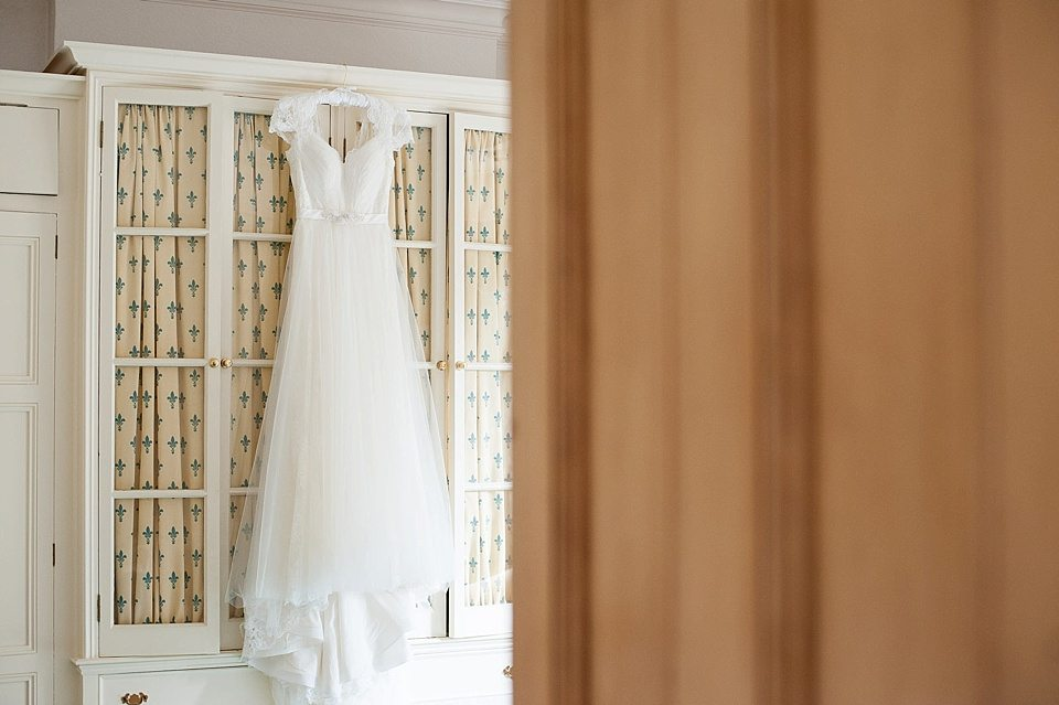 the brides dress at a thames rowing club wedding, handmade wedding, scottish wedding photographer © Fiona Kelly Photography