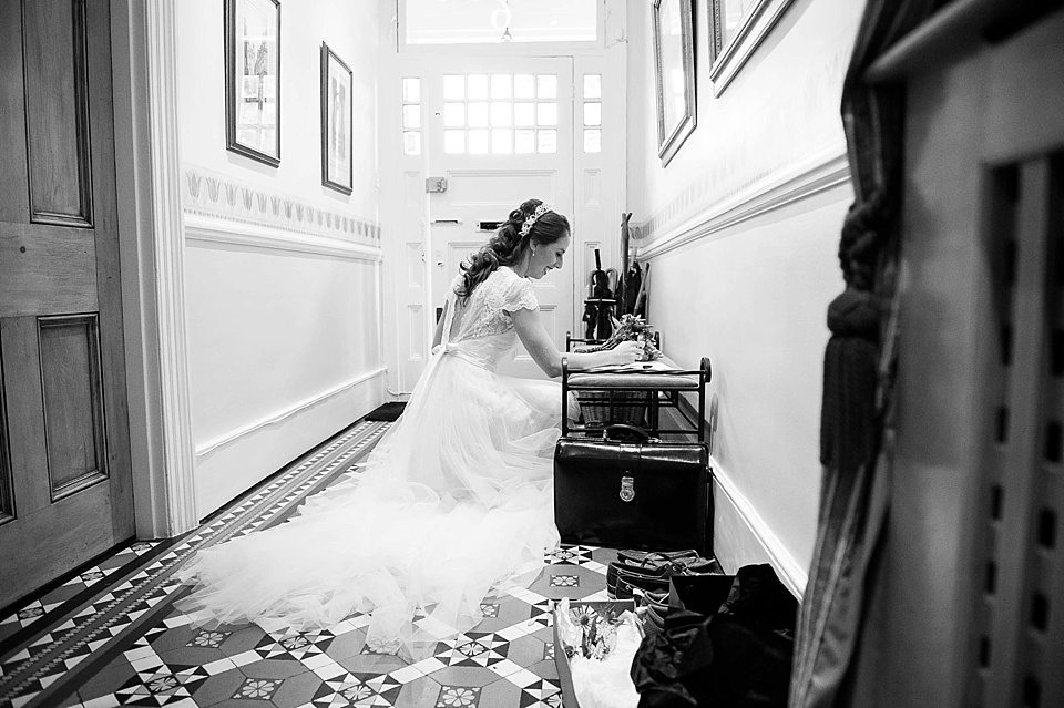 bride at home before the wedding at thames rowing club wedding, handmade wedding, scottish wedding photographer © Fiona Kelly Photography