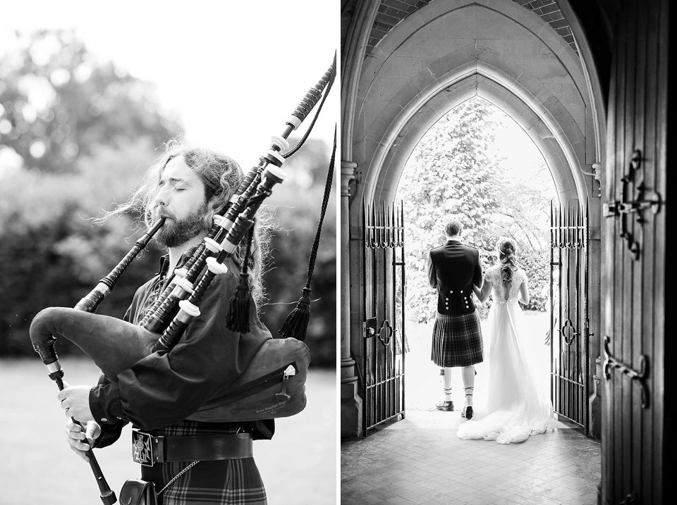 bagpipes outside church at a thames rowing club wedding, a handmade wedding, scottish wedding photographer © Fiona Kelly Photography