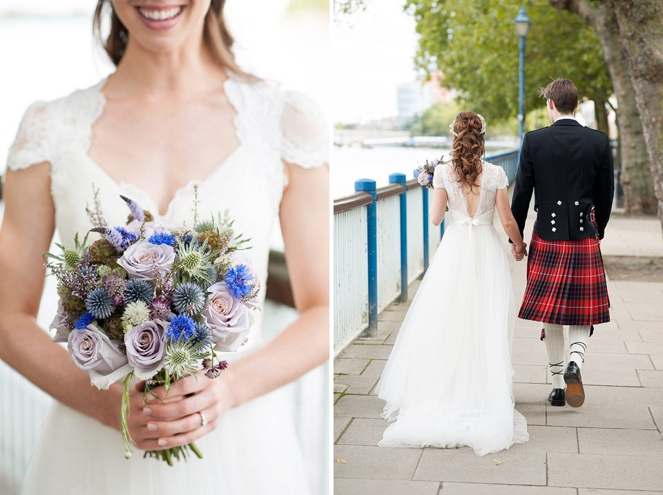 bride and thistle and roses bouquet by Celeste French and back of bride and groom holding hands at a thames rowing club wedding, a handmade wedding, scottish wedding photographer © Fiona Kelly Photography