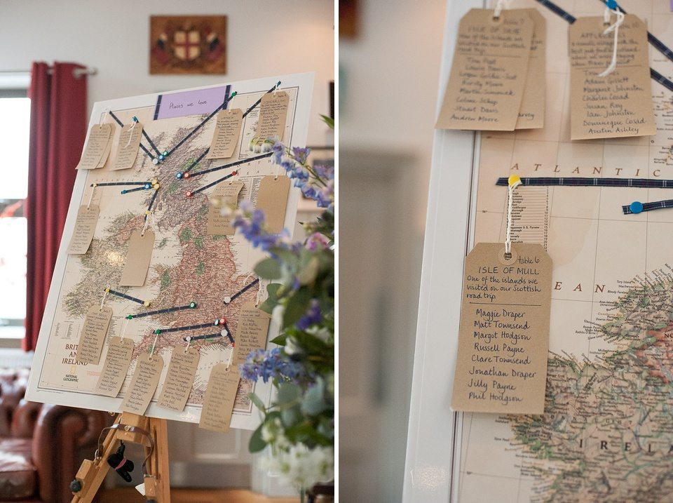 DIY decorations seating plan at a thames rowing club wedding, a handmade wedding, scottish wedding photographer © Fiona Kelly Photography