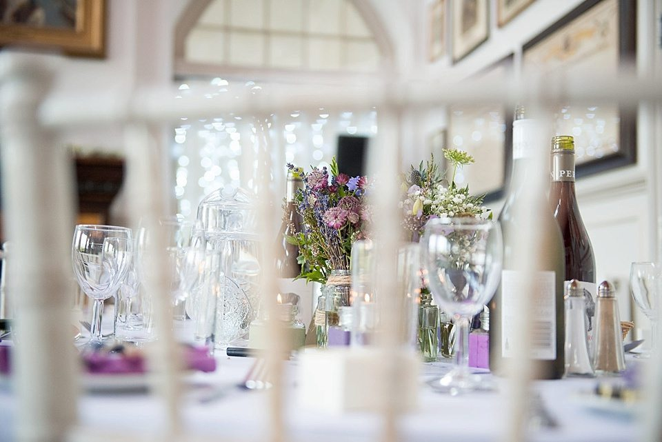 DIY table decorations at a thames rowing club wedding, a handmade wedding, scottish wedding photographer © Fiona Kelly Photography