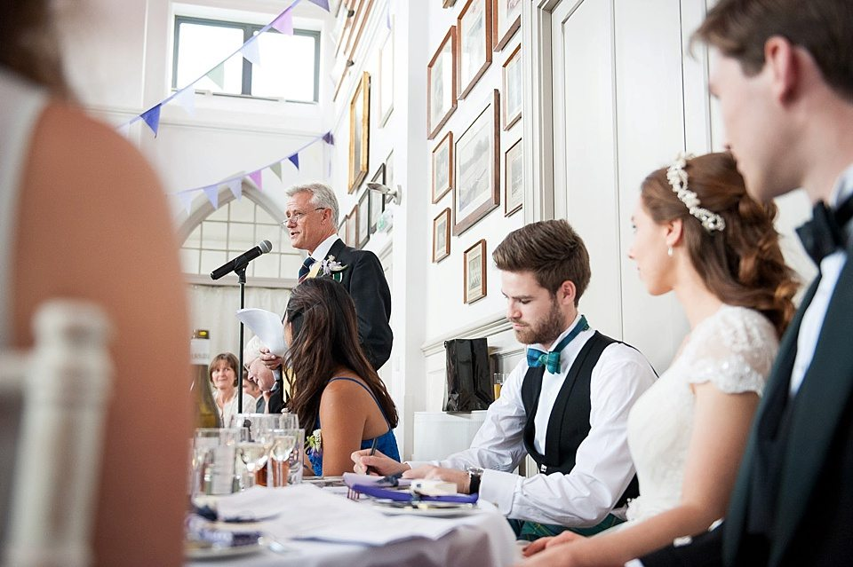 father of the bride delivering his speech at a thames rowing club wedding, a handmade wedding, scottish wedding photographer © Fiona Kelly Photography