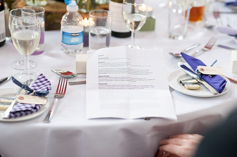paperwork for the speech on a table at a thames rowing club wedding, a handmade wedding, scottish wedding photographer © Fiona Kelly Photography