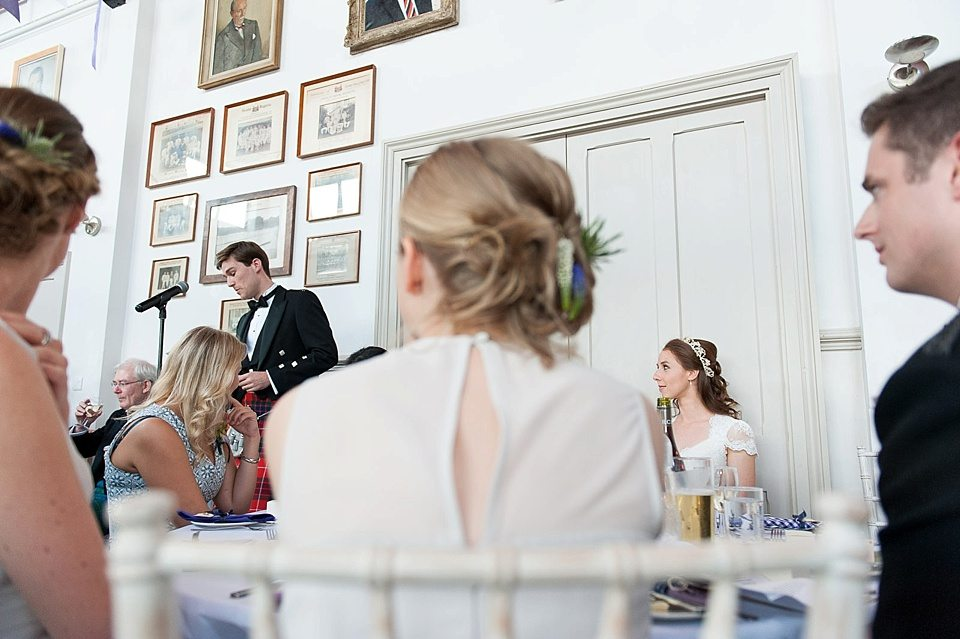 groom delivering speech to guests at a thames rowing club wedding, a handmade wedding, scottish wedding photographer © Fiona Kelly Photography