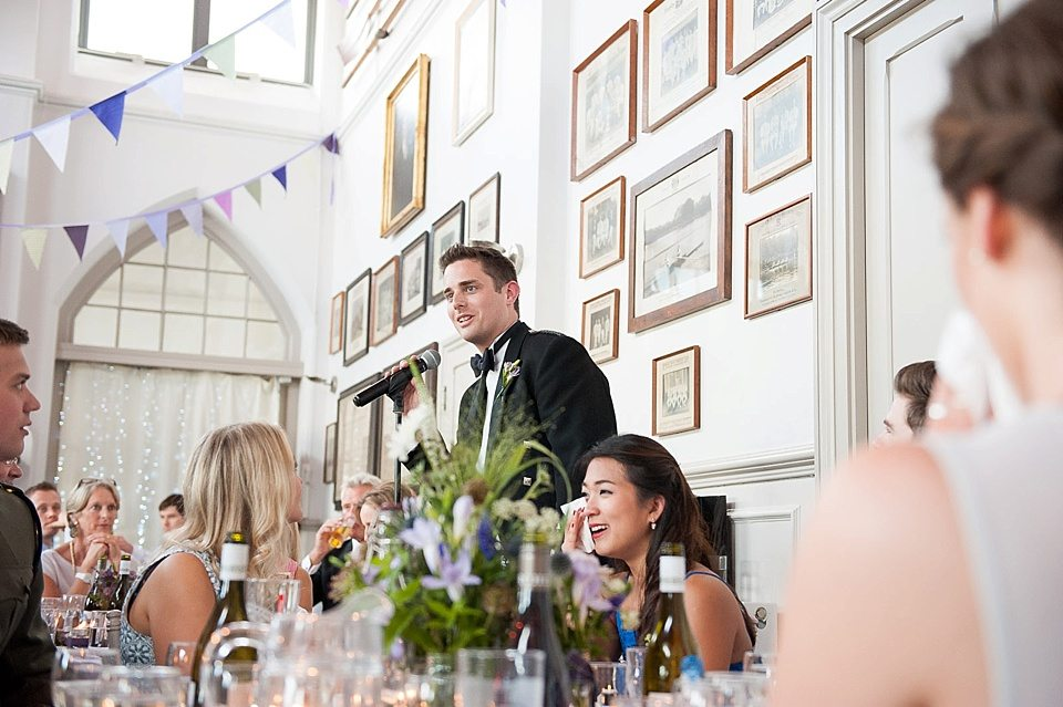 the best man's speech at a thames rowing club wedding, a handmade wedding, scottish wedding photographer © Fiona Kelly Photography