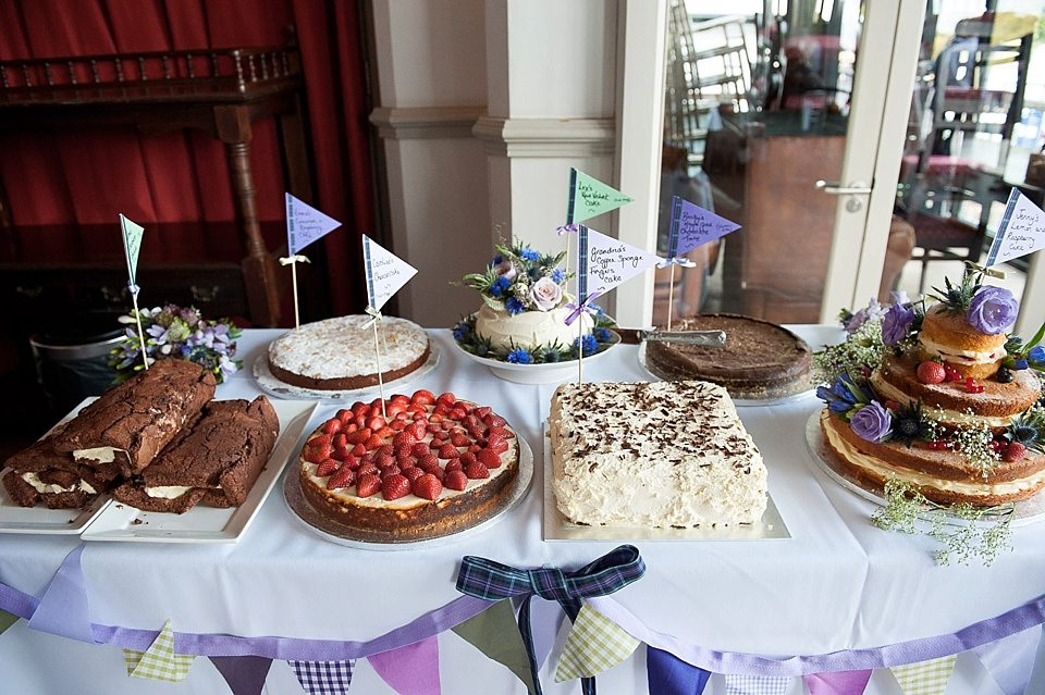 amazing desserts table all home-made at a thames rowing club wedding, a handmade wedding, scottish wedding photographer © Fiona Kelly Photography