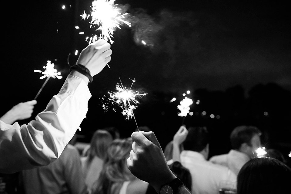 sparklers at a thames rowing club wedding, a handmade wedding, scottish wedding photographer © Fiona Kelly Photography
