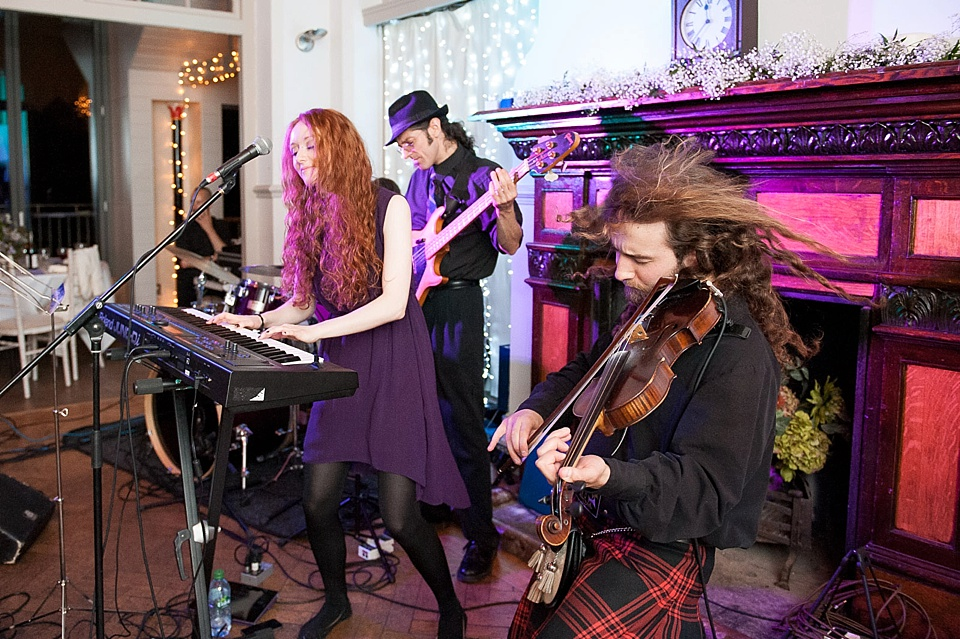 Timorous Beasties performing at a thames rowing club wedding, a handmade wedding, scottish wedding photographer © Fiona Kelly Photography