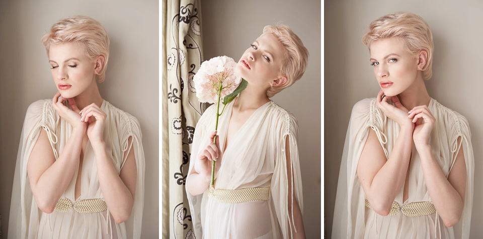 Feminine bridal boudoir with Chloe-Jasmine Whichello wearing Ell & Cee lingerie, hair by Hepburn Collection, shoot styled by Bloved, flowers by Indeco Flowers at The George in Rye - editorial photography © Fiona Kelly Photography