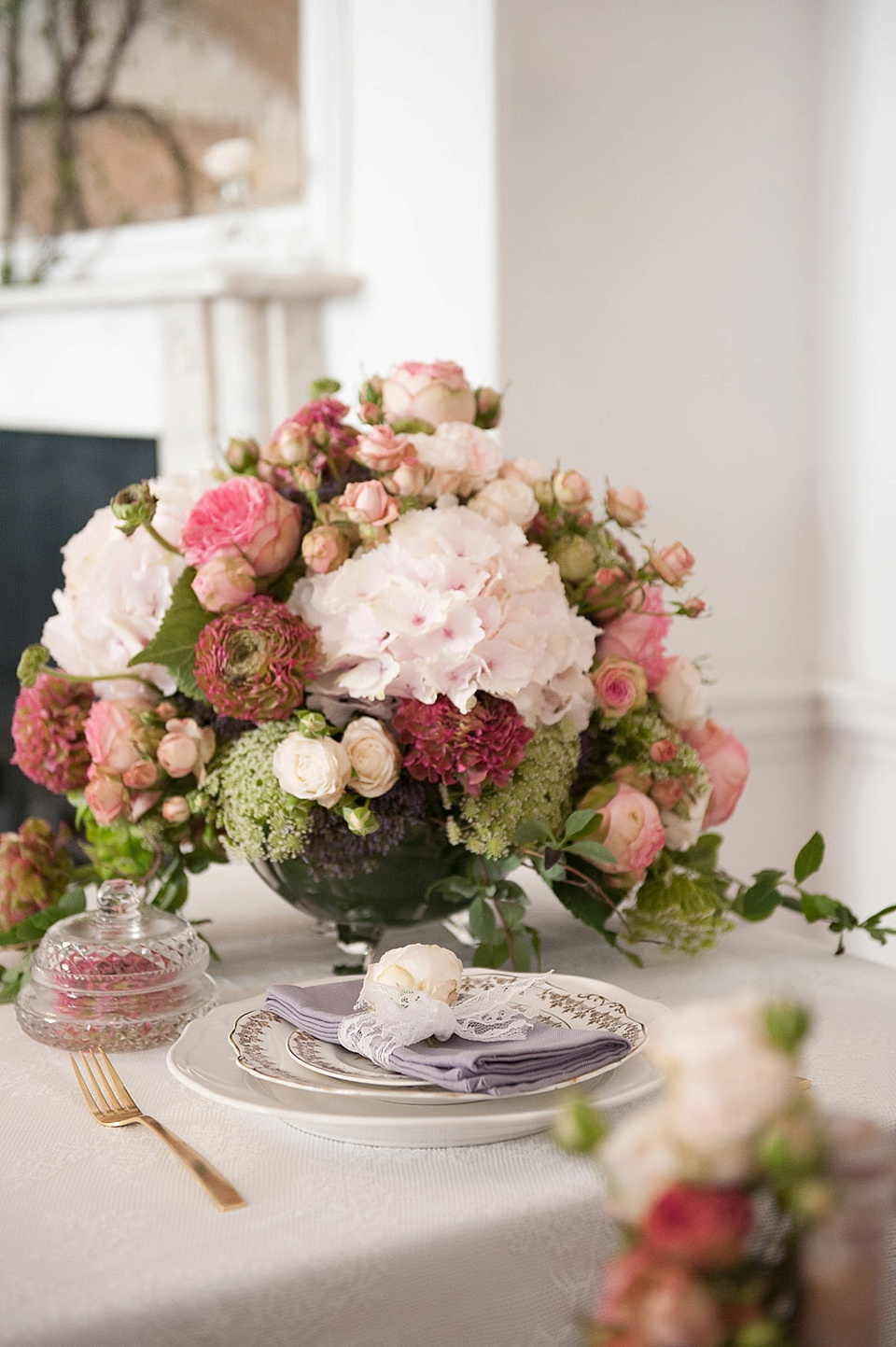 Pink hydrangeas and pink flowers by Indeco Flowers at The George in Rye - editorial photography © Fiona Kelly Photography